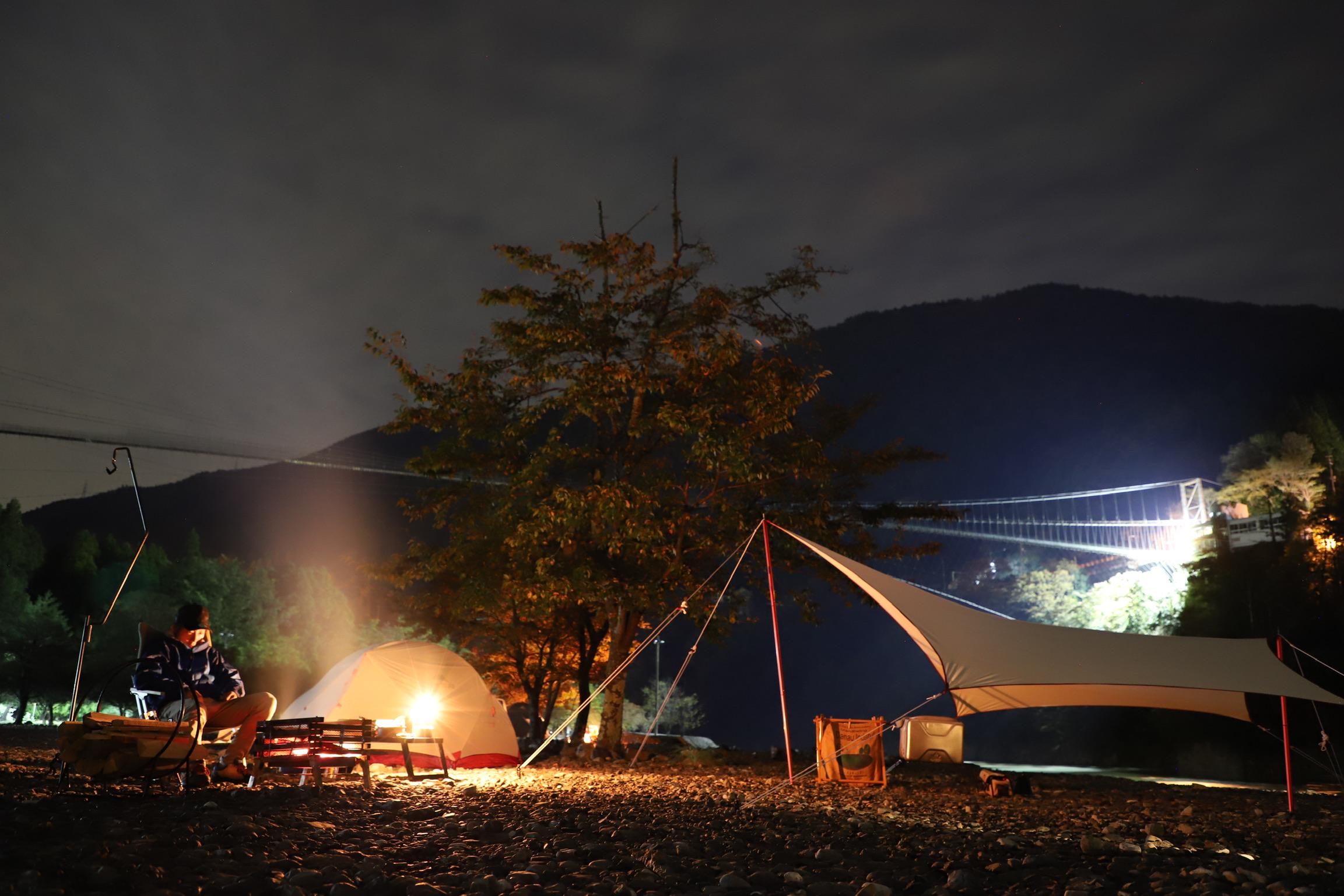 日本一長い吊り橋の下でCamp!つり橋の里キャンプ場