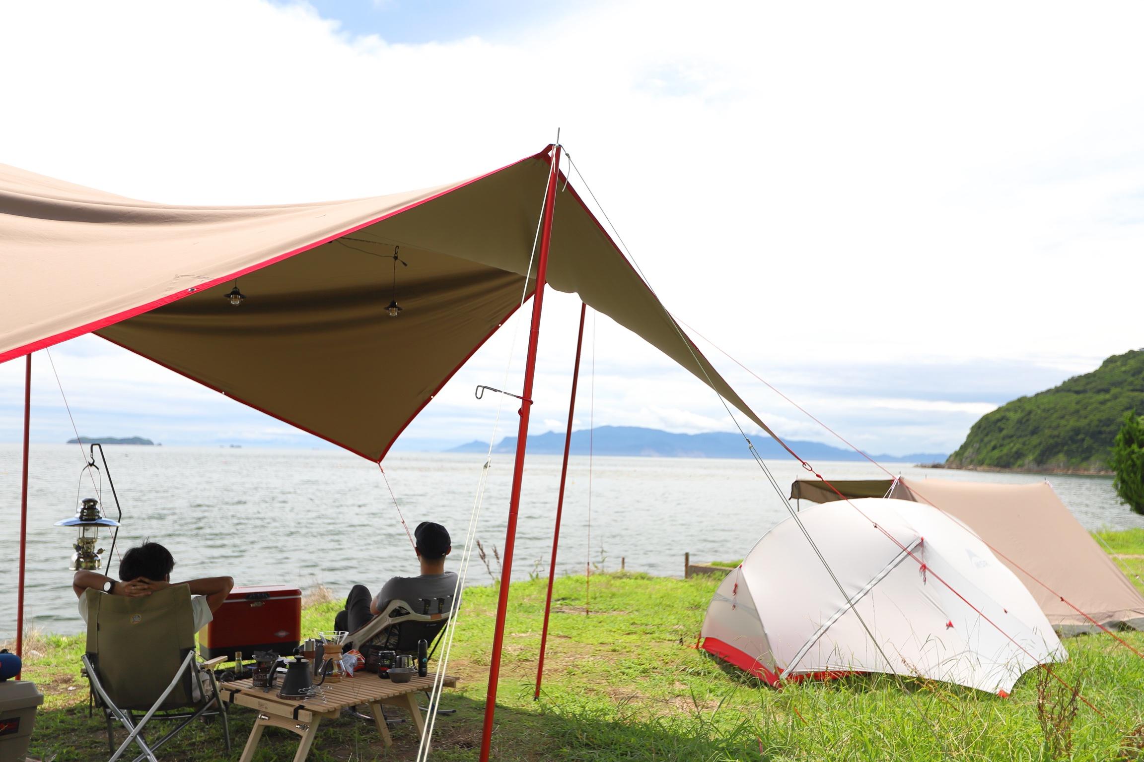 目の前には瀬戸内海!お得な無料のキャンプ場。丸山県民サンビーチ