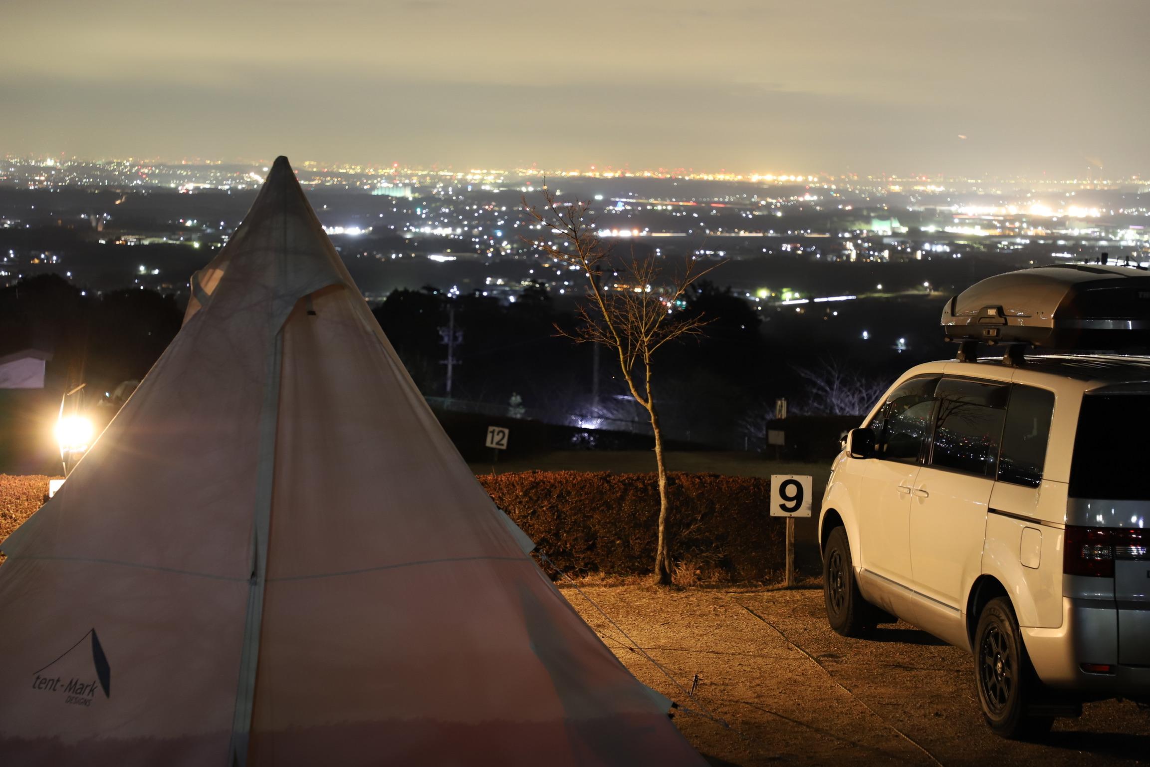 ばっちり夜景が見える段々サイト☆尾高高原キャンプ場
